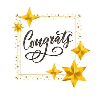 Parabéns cartão de parabéns letras caligrafia
