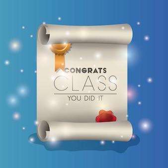 Parabéns classe certificado diploma