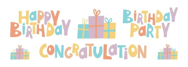 Parabéns colorido com feliz aniversário todas as cores. elementos de design estilo bonito de desenho à mão