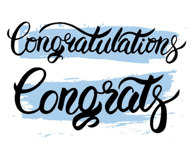 Parabéns congratula-se preto e azul vetor mão rotulação. com splash de tinta de paleta de paletas