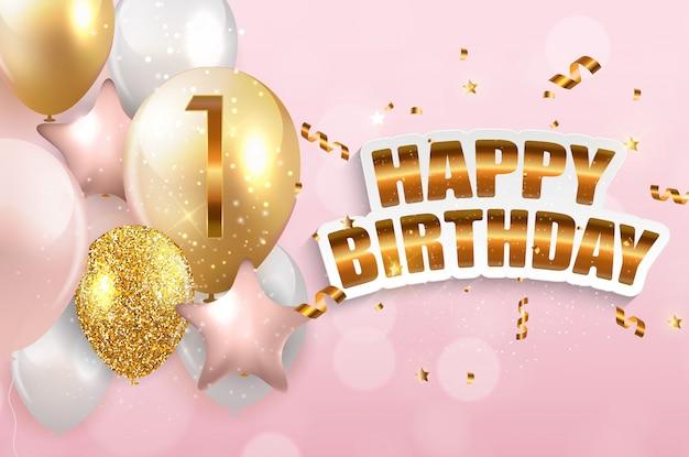 Parabéns de aniversário de 1 ano modelo, cartão com ilustração em vetor convite balões