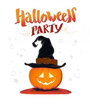 Parabéns de halloween com felicitações de escritos à mão e personagem de abóbora no chapéu de bruxa. ilustração vetorial