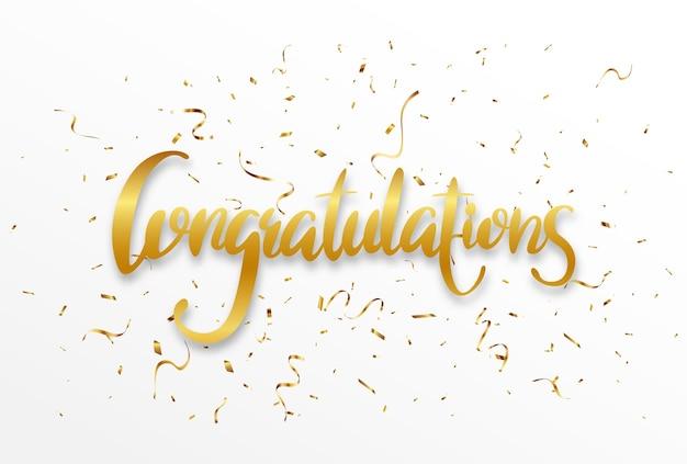 Parabéns dourado assinam banner de cartas com confete