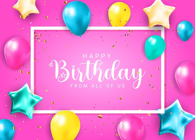 Parabéns feliz aniversário banner design com confete, balões e fita de brilho brilhante para fundo de férias de festa. ilustração vetorial eps10
