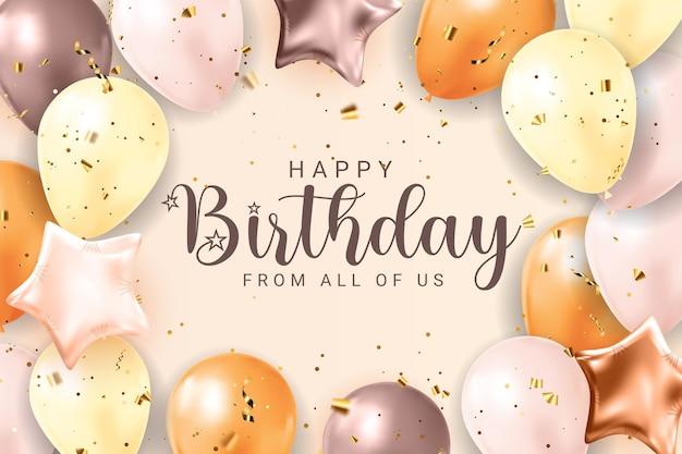 Parabéns feliz aniversário banner design com confetes, balões e fita de brilho brilhante para fundo de férias de festa. ilustração vetorial