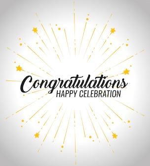 Parabéns feliz evento celebração com decoração de estrelas