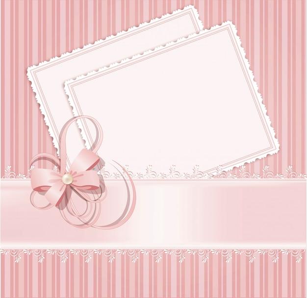 Parabéns fundo rosa com laço, fitas, arcos