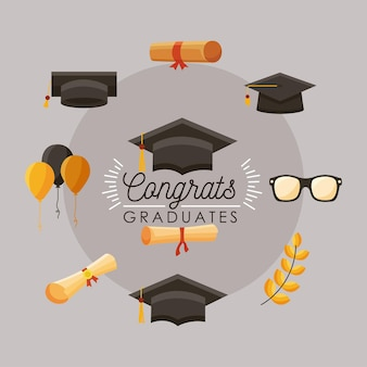 Parabéns graduados dez ícones