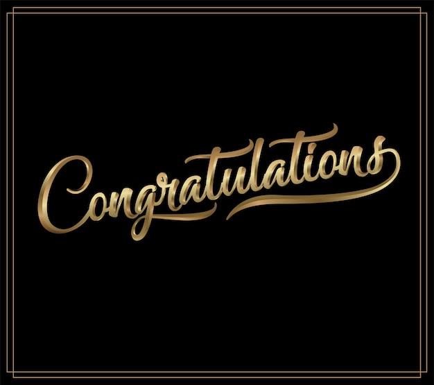 Parabéns. letras de caligrafia. frase manuscrita com texto de ouro no escuro backgrou