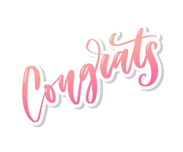 Parabéns mão escrita letras para cartão de felicitações, cartão, convite e impressão