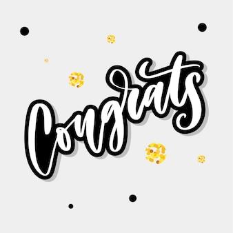 Parabéns mão escrita letras para cartão de felicitações, cartão de felicitações