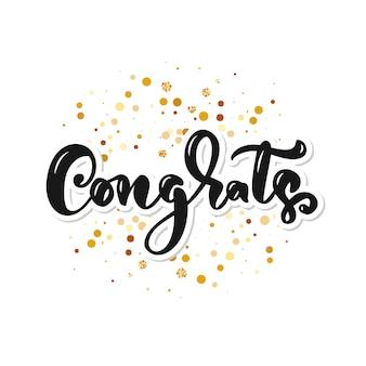 Parabéns mão escrita letras para cartão de parabéns