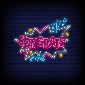 Parabéns palavra em estilo neon. parabéns sinais de néon. cartão de felicitações