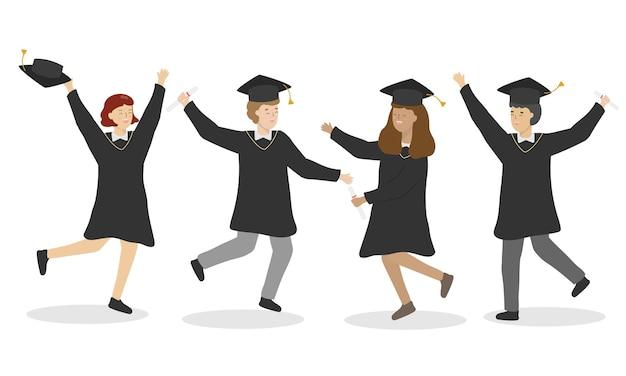 Parabéns pelo dia da formatura. alunos usando vestidos e chapéus de formatura no dia da formatura