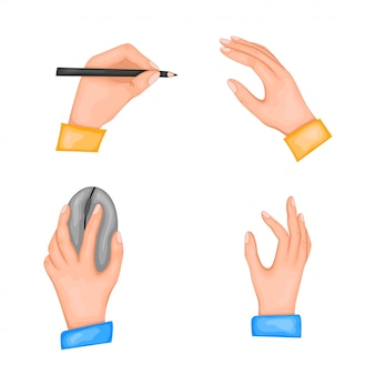 Parabéns pelo dia internacional dos canhotos. ilustração de duas mãos. na mão esquerda, uma caneta ou lápis e um mouse de computador. isolado em um fundo branco.