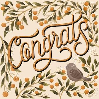 Parabéns tipográfica com decoração desenhada à mão