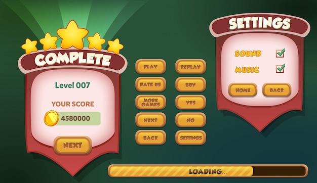 Parada completa de nível e cena do menu de configurações aparece com música e botões de som