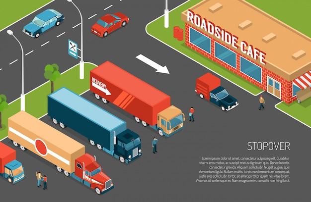 Parada de caminhões de entrega na zona de estacionamento perto de café na estrada 3d