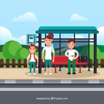 Parada de ônibus e pessoas com design plano