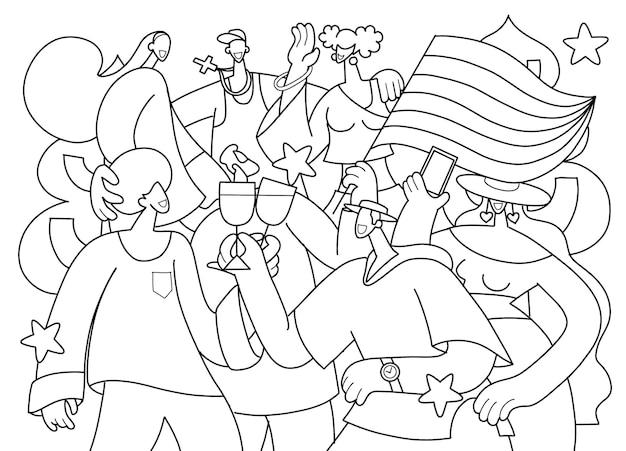 Parada do orgulho lgbt, uma multidão marchando em uma parada do orgulho. membros da comunidade lésbica, gay, bissexual e transgênero. para o design de livros de colorir, uma ilustração em vetor de um doodle