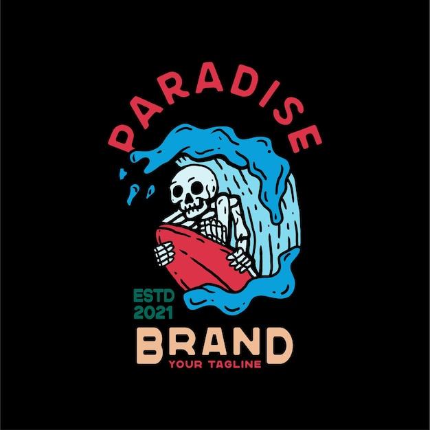 Paradise skull sky estilo vintage