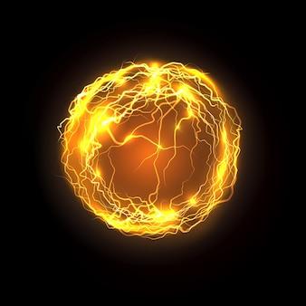Parafuso de energia mágica e relâmpago isolado no preto