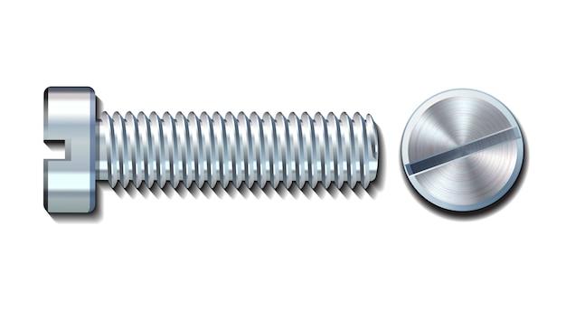 Parafuso parafuso pino de metal com fenda na cabeça e vista lateral com ícones vetoriais rosqueados