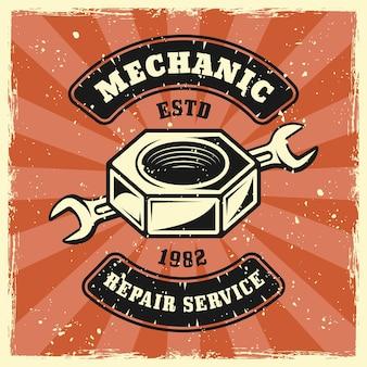 Parafuso porca e chave mecânica emblema, distintivo, etiqueta, logotipo ou t-shirt impressão em estilo vintage colorido. ilustração vetorial com texturas grunge em camadas separadas