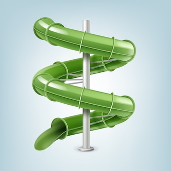 Parafuso slide de água verde ou slide tubo em linha. isolado em um fundo claro