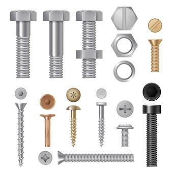 Parafusos de aço. vise rebites ferramentas de hardware de construção de metal imagens realistas