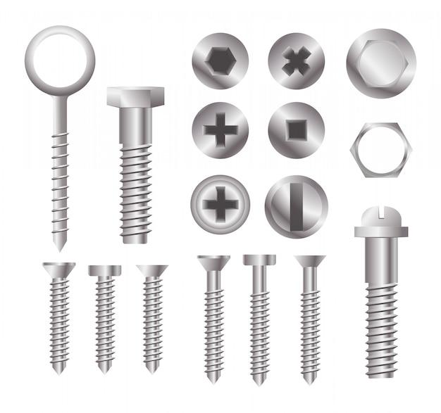Parafusos de metal. conjunto de diferentes tipos de cabeças de parafuso isolados
