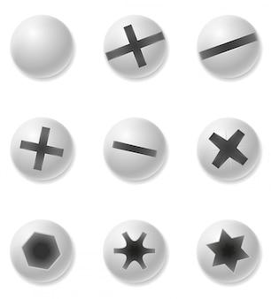 Parafusos de parafusos e ilustração vetorial de rebite