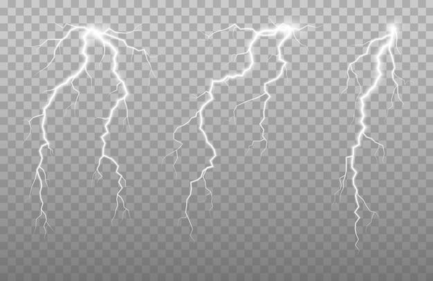 Parafusos de relâmpago verticais no céu. efeito de brilho e faísca. parafuso de trovão