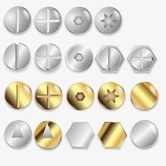 Parafusos e parafusos, conjunto de ilustração isolado