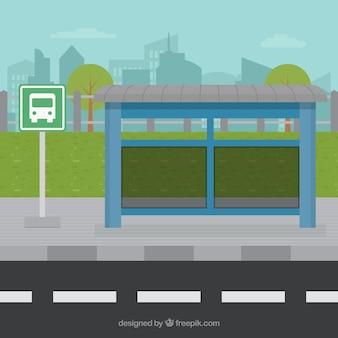Paragem de autocarro vazio com design plano