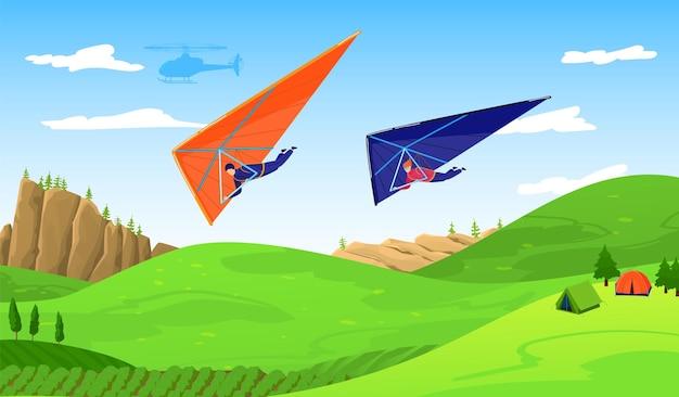 Paragliders no céu sobre a floresta, ilustração de aventura de esporte radical.