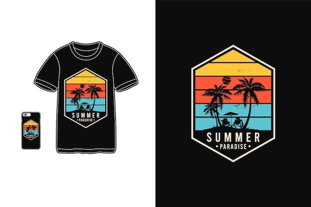 Paraíso de verão, t-shirt mercadoria silhueta estilo retro