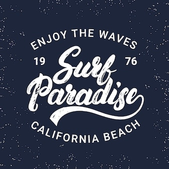 Paraíso do surf mão escrito letras tipografia