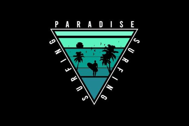 Paraíso do surfe, tipografia de maquete de silhueta