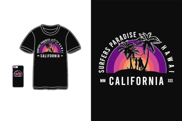 Paraíso dos surfistas, silhueta de mercadoria de camiseta
