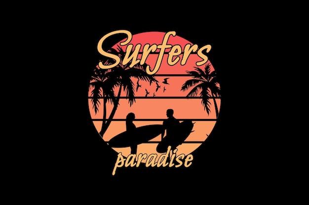 Paraíso dos surfistas, tipografia de maquete de coqueiro de silhueta