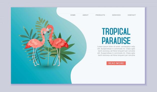 Paraíso tropical web desembarque. flamigo na natureza exótica com folhas de palmeira sobre fundo azul. paraíso tropical viagens e férias site.