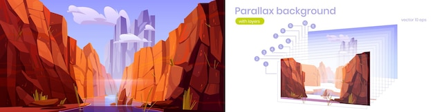 Paralaxe, grand canyon, com, rio, parque nacional, de, arizona, vermelho, arenito, montanhas, horizonte ...