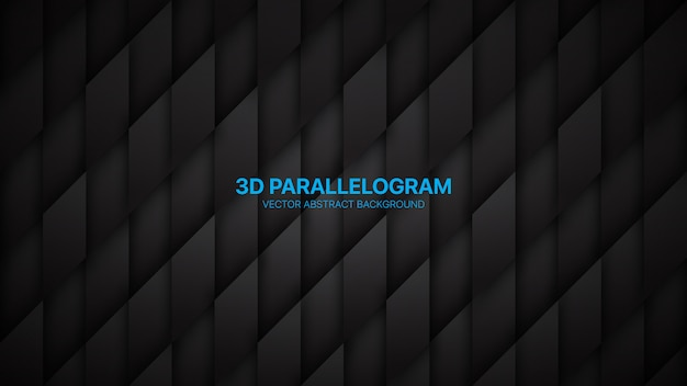 Paralelogramos 3d minimalista conceitual abstrato preto