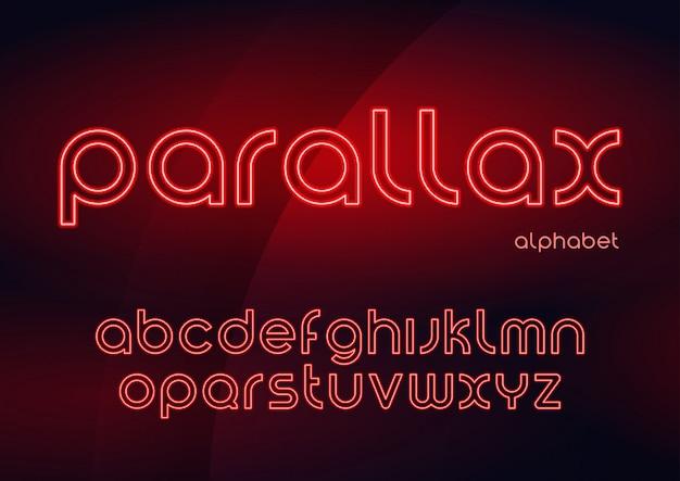 Parallax vector linear neon typefaces, alfabeto, letras, fonte