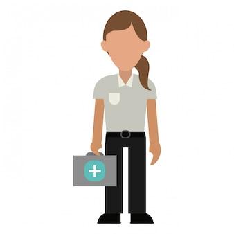 Paramédico com mala de primeiros socorros