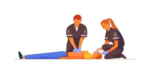 Paramédico dando primeiros socorros de massagem cardíaca indireta ao paciente