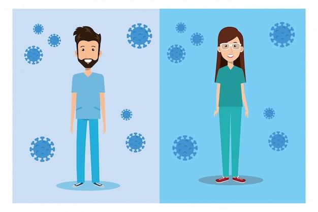 Paramédico de casal com ilustração covid 19 de partículas