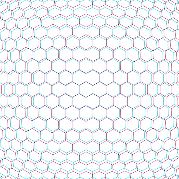 Paramétrico anaglif hexagonal net fundo branco cenário decorativo