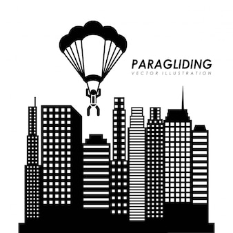 Parapente design sobre o fundo da paisagem urbana